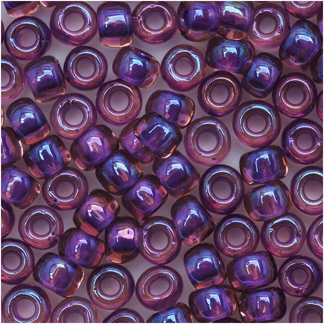 Toho Round Seed Beads 6/0 928 'Rainbow Rosaline/Opaque Purple Lined' 8 Gram Tube