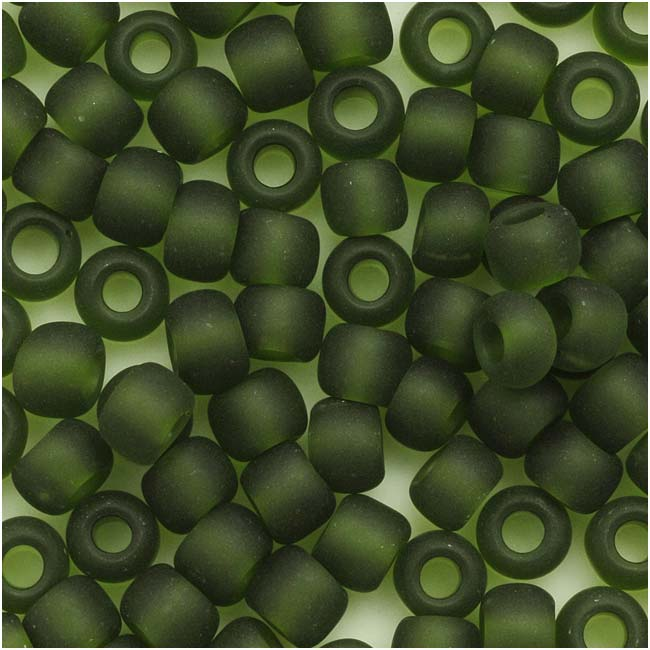 Toho Round Seed Beads 6/0 940F 'Transparent Frosted Olivine' 8 Gram Tube