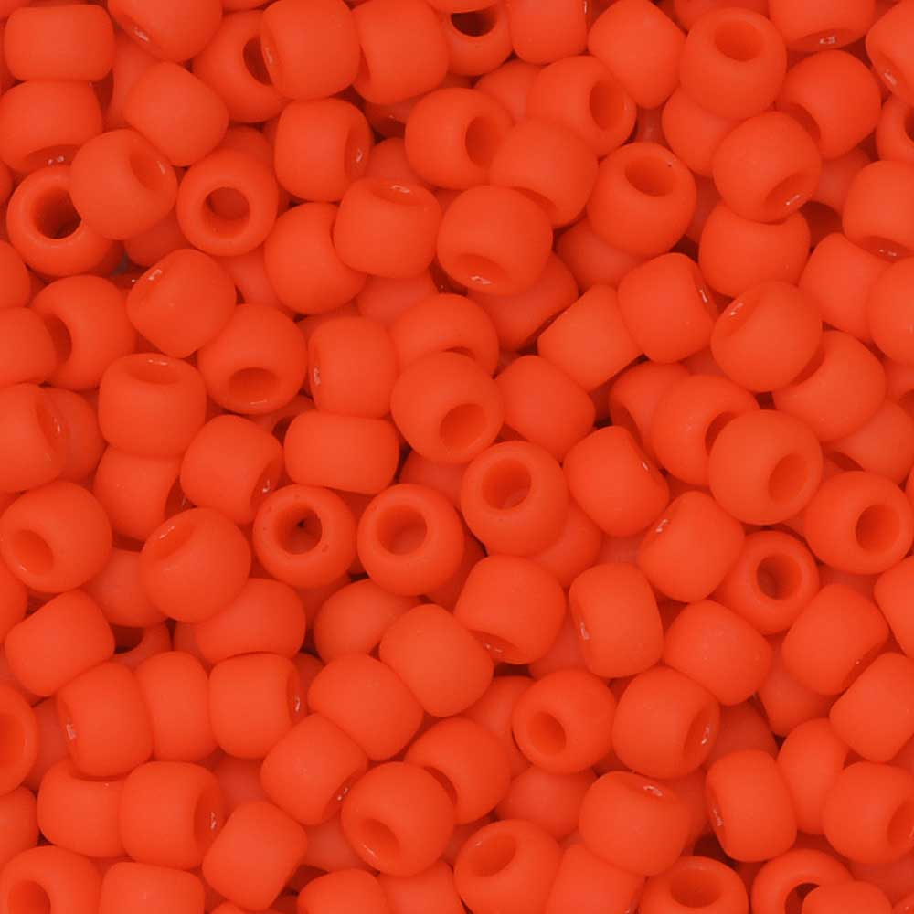 Toho Seed Beads, Round 8/0 #50F 'Opaque Frosted Sunset Orange', 8 Grams