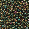 Toho Round Seed Beads 8/0 508 'Higher Metallic Iris Olivine' 8 Gram Tube