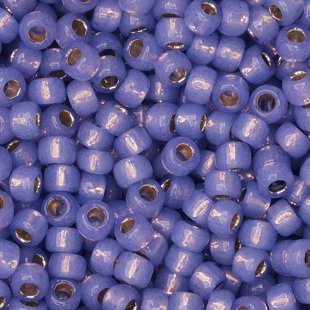 Toho Seed Beads, Round 8/0 #PF2123 'PermaFinish Silver Lined Milky Sapphire', 8 Grams