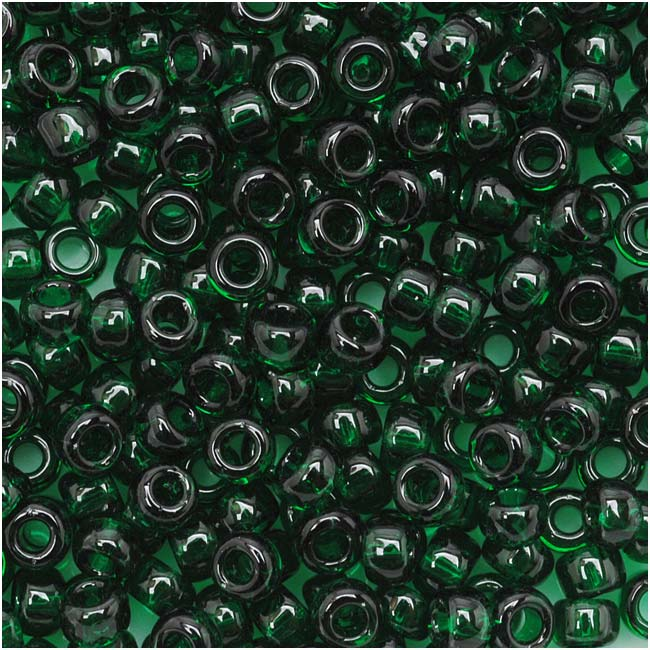 Toho Round Seed Beads 8/0 939 'Transparent Green Emerald' 8 Gram Tube