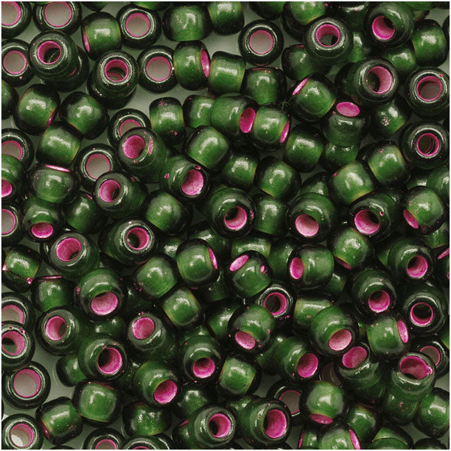 Toho Round Seed Beads 8/0 2204 'Silver Lined Frosted Olivine Pink Lined'  8 Gram Tube