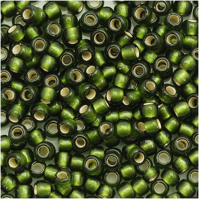 Toho Round Seed Beads 8/0 37F 'Silver Lined Frosted Olive' 8 Gram Tube