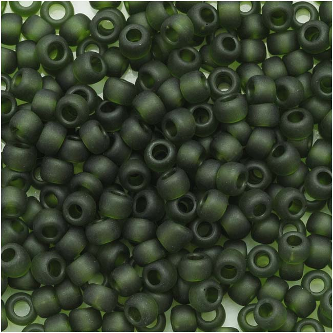 Toho Round Seed Beads 8/0 940F 'Transparent Frosted Olivine' 8 Gram Tube