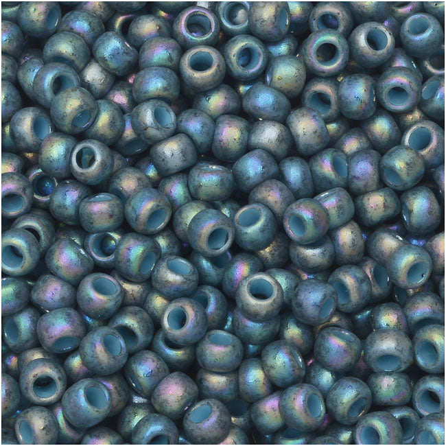 Toho Seed Beads, Round 8/0 Semi Glazed, 8 Gram Tube, Rainbow Blue Turquoise