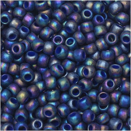 Toho Seed Beads, Round 8/0 Semi Glazed, 8 Gram Tube, Rainbow Navy Blue