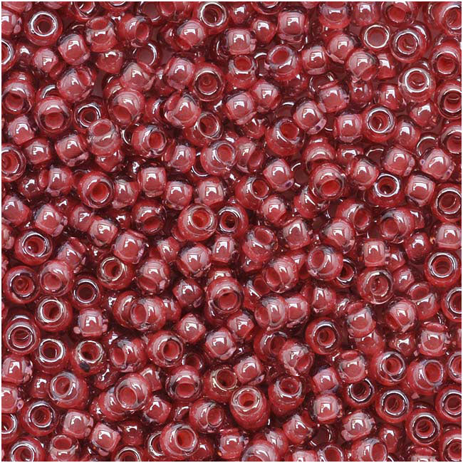 Toho Round Seed Beads 11/0 291 'Transparent Lustered Rose/Mauve Lined' 8 Gram Tube