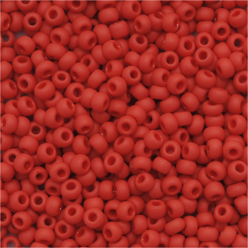 Toho Round Seed Beads 11/0 45F Opaque Frosted Pepper Red 8 Gram Tube