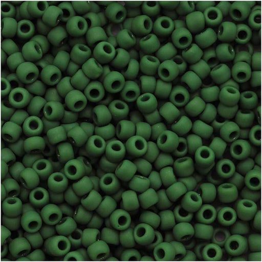 Toho Round Seed Beads 11/0 47HF 'Opaque Frosted Pine Green' 8 Gram Tube
