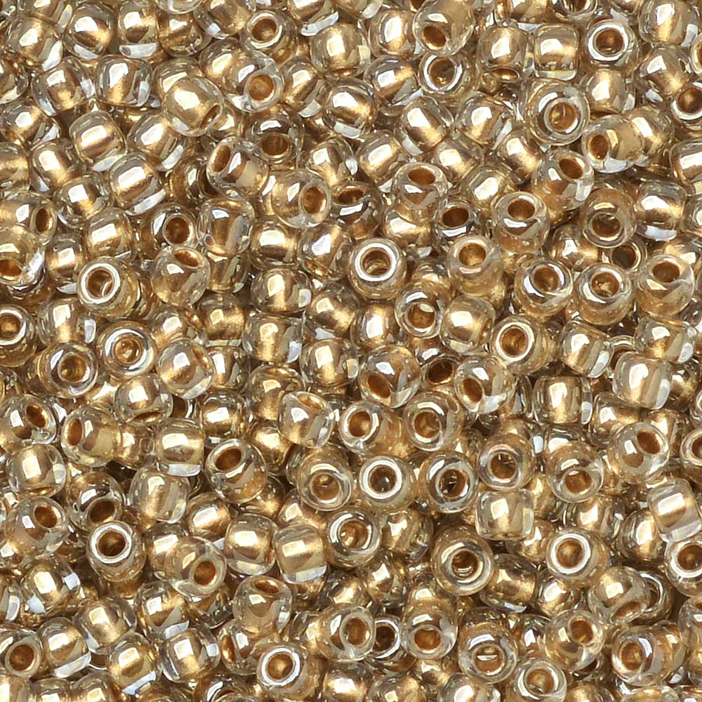 Toho Seed Beads, Round 11/0 #989 'Gold Lined Crystal', 8 Grams