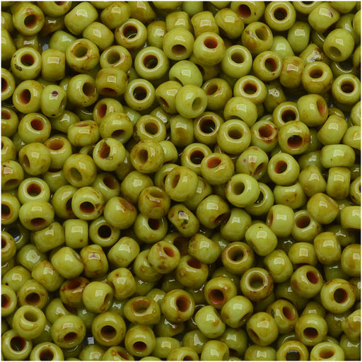 Toho Round Seed Beads 11/0 #Y310 - Hybrid Sour Apple Picasso (8 Grams)