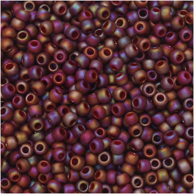 Toho Seed Beads, Round 11/0 Semi Glazed, 8 Gram Tube, Rainbow Dark Red
