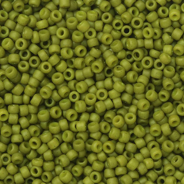 Toho Seed Beads, Round 15/0 #2601F 'Semi Glazed - Olive', 8 Grams