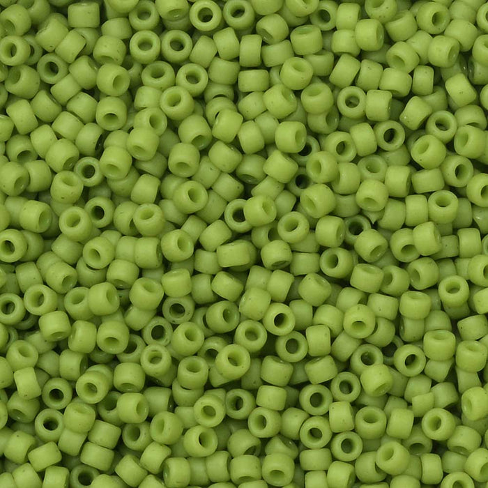 Toho Seed Beads, Round 15/0 #2602F 'Semi Glazed Honeydew', 8 Grams