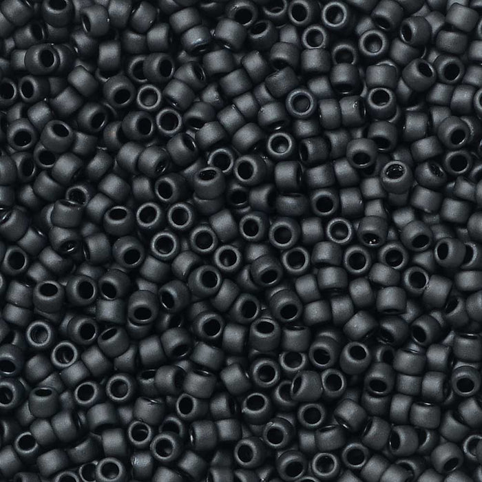 Toho Seed Beads, Round 15/0 #611 'Matte Opaque Gray', 8 Grams