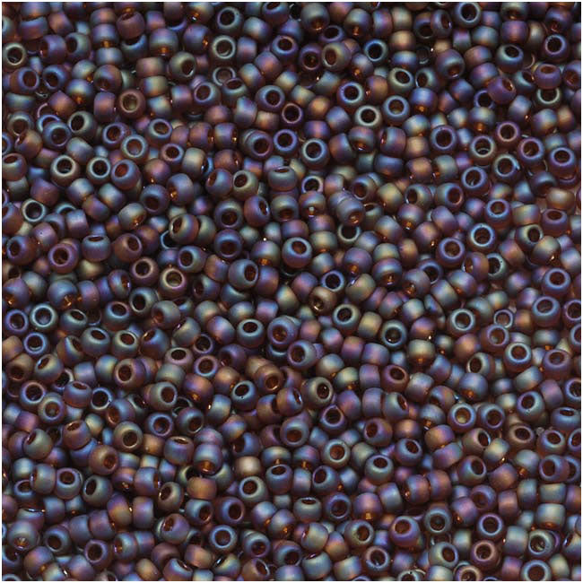 Toho Round Seed Beads 15/0 #177F 'Transparent Rainbow Frosted Smoky Topaz' 8g