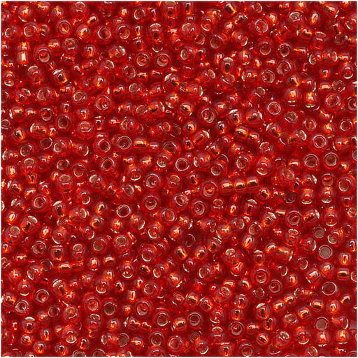 Toho Round Seed Beads 15/0 25C 'Silver Lined Ruby' 8 Gram Tube