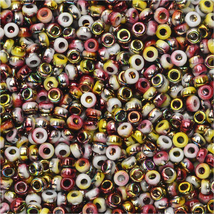 The Beadsmith Unions, 11/0 Round Seed Beads, 24 Gram Tube, Opaque White Funky Apple