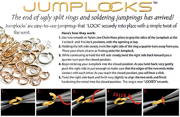 JUMPLOCK Jump Rings, Round 6mm 18 Gauge, 10 Pieces, Sterling Silver