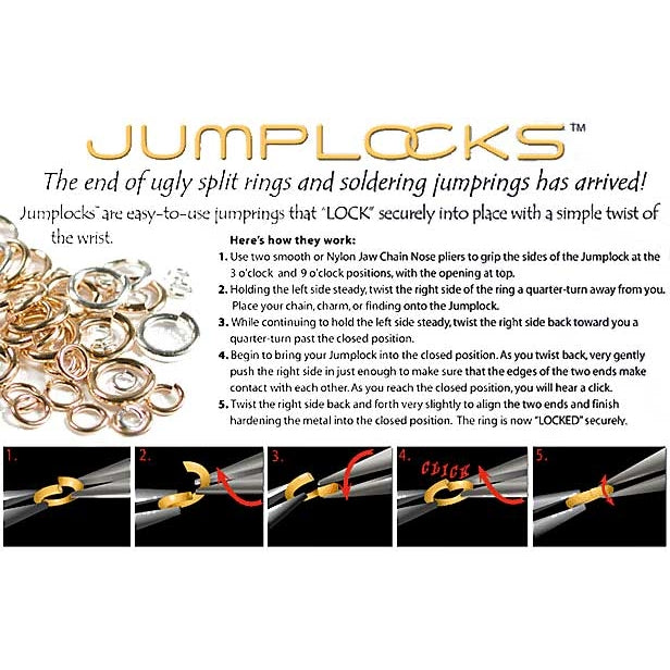 JUMPLOCK Jump Rings, Round 4mm 20 Gauge, 10 Pieces, Gold Filled