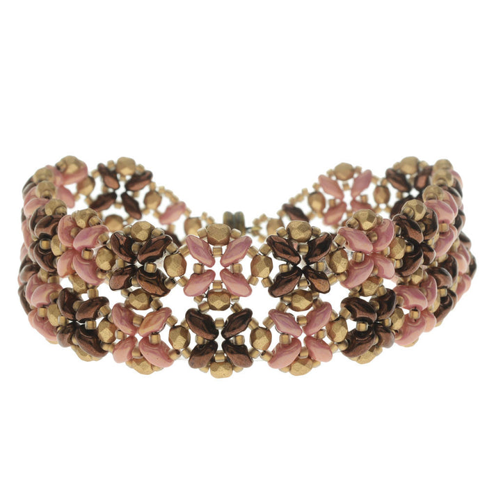 SuperDuo Blooms Bracelet - Pink/Bronze - Exclusive Beadaholique Jewelry Kit