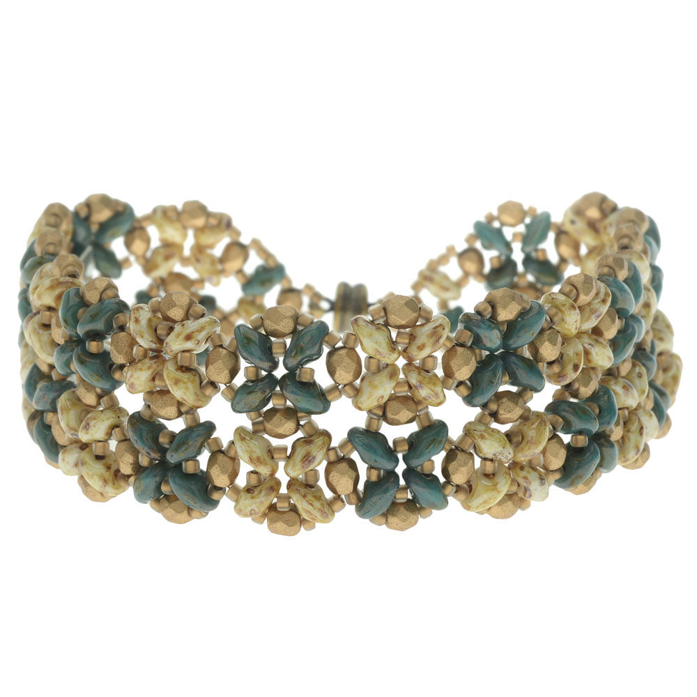 SuperDuo Blooms Bracelet - Teal/Cream - Exclusive Beadaholique Jewelry Kit