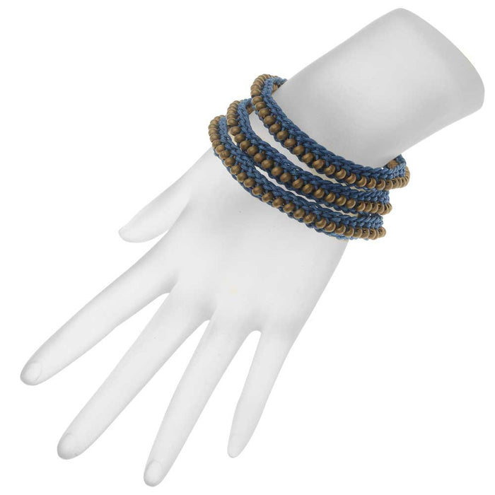 Beaded Flat Kumihimo Bracelet Set - Blue/Antique Brass - Exclusive Beadaholique Jewelry Kit