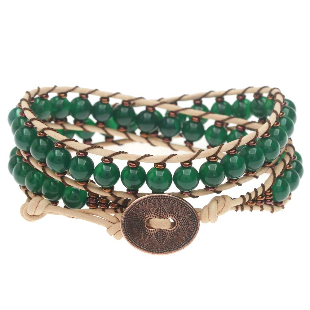 Leather Double Wrapped Loom Bracelet - Green/Copper - Exclusive Beadaholique Jewelry Kit