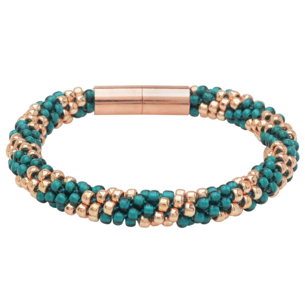 Splendid Spiral Kumihimo Bracelet in Teal and Rose Gold - Exclusive Beadaholique Jewelry Kit