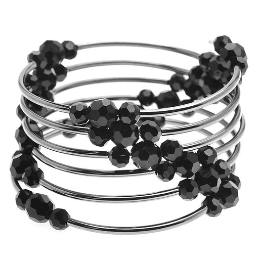 Memory Wire Noodle Bead Bracelet (Black/GM) - Exclusive Beadaholique Jewelry Kit