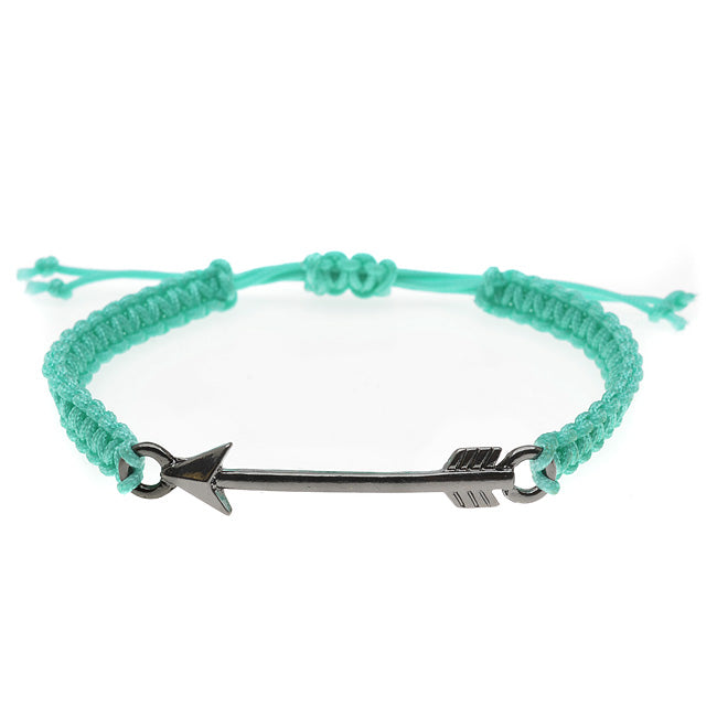 Arrow Link Macrame Bracelet (Turq & Black) - Exclusive Beadaholique Jewelry Kit