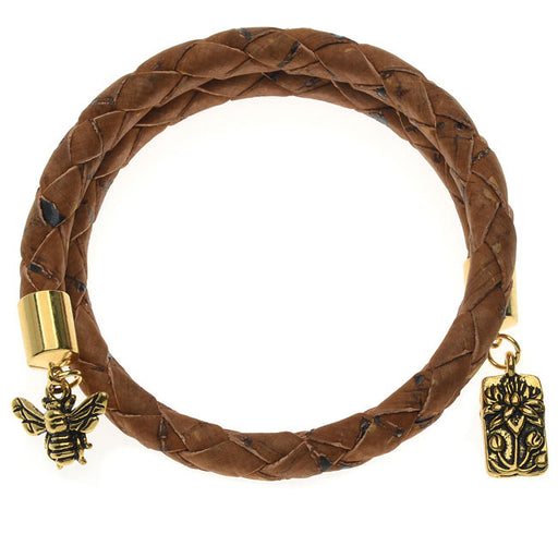 Saddle Brown Braided Cork Wrap Bracelet - Exclusive Beadaholique Jewelry Kit