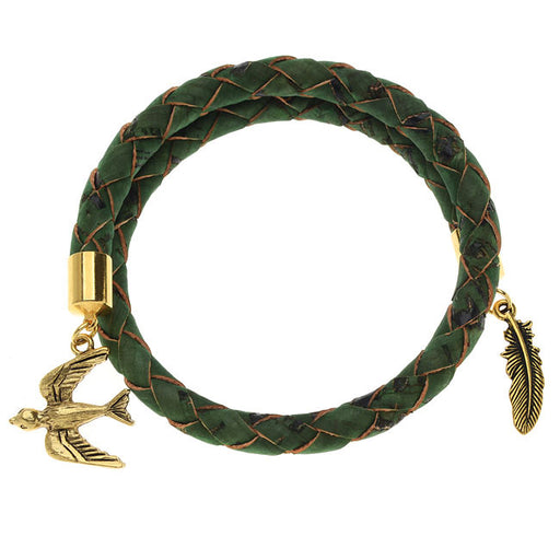 Green Braided Cork Wrap Bracelet - Exclusive Beadaholique Jewelry Kit