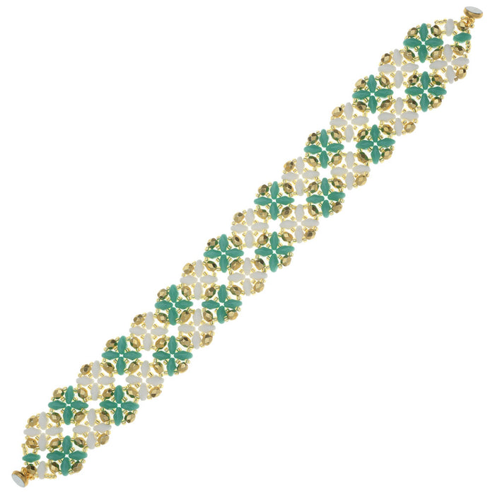 SuperDuo Blooms Bracelet - Turquoise/White - Exclusive Beadaholique Jewelry Kit