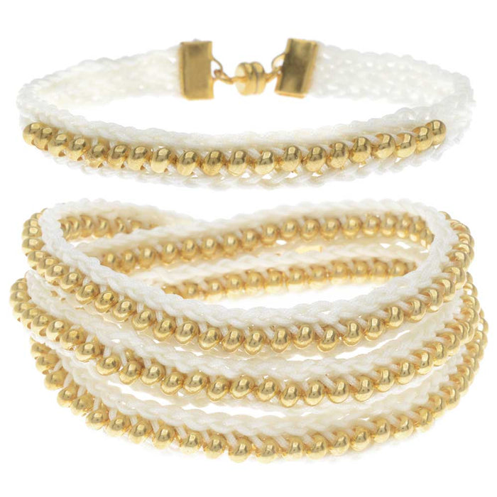 Beaded Flat Kumihimo Bracelet Set - White/Gold - Exclusive Beadaholique Jewelry Kit