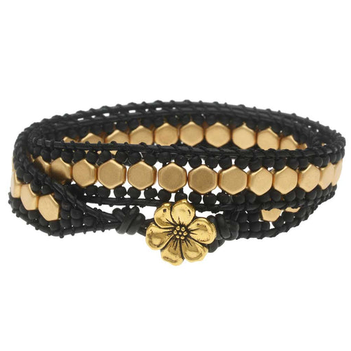 Honeycomb Double Wrapped Loom Bracelet - Black & Gold - Exclusive Beadaholique Jewelry Kit