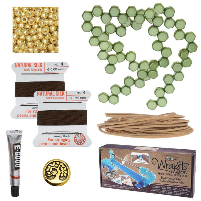 Honeycomb Double Wrapped Loom Bracelet - Olive & Brown - Exclusive Beadaholique Jewelry Kit
