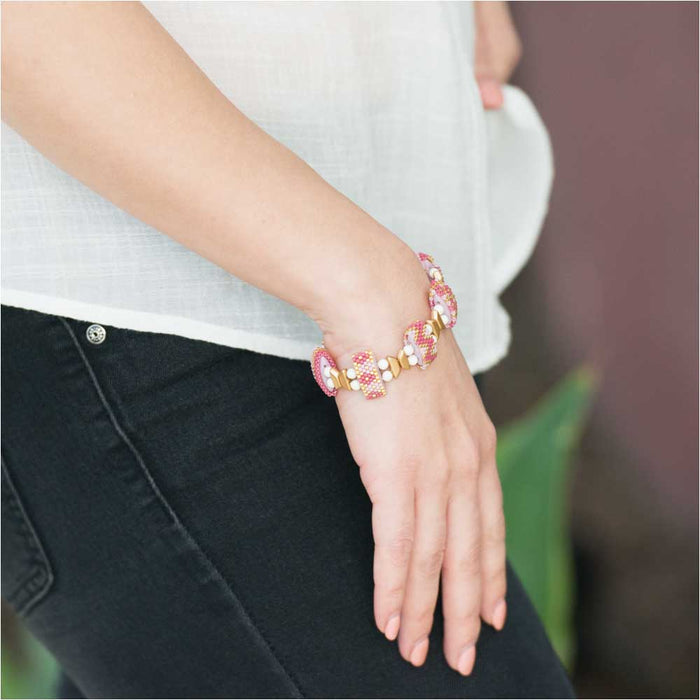 Carrier Bead Peyote Bracelet - Spring Blossom - Exclusive Beadaholique Jewelry Kit