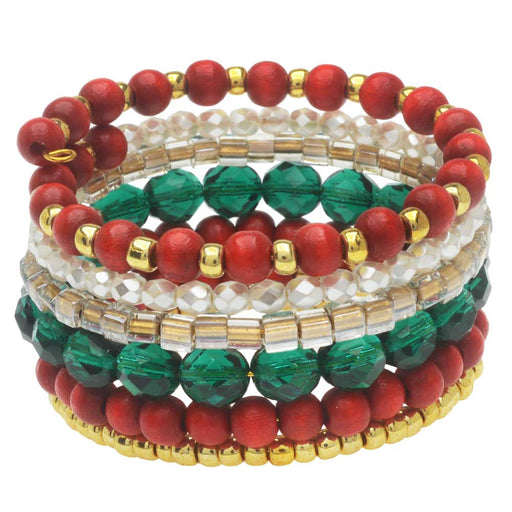 Stacked Memory Wire Bracelet in North Pole - Exclusive Beadaholique Jewelry Kit