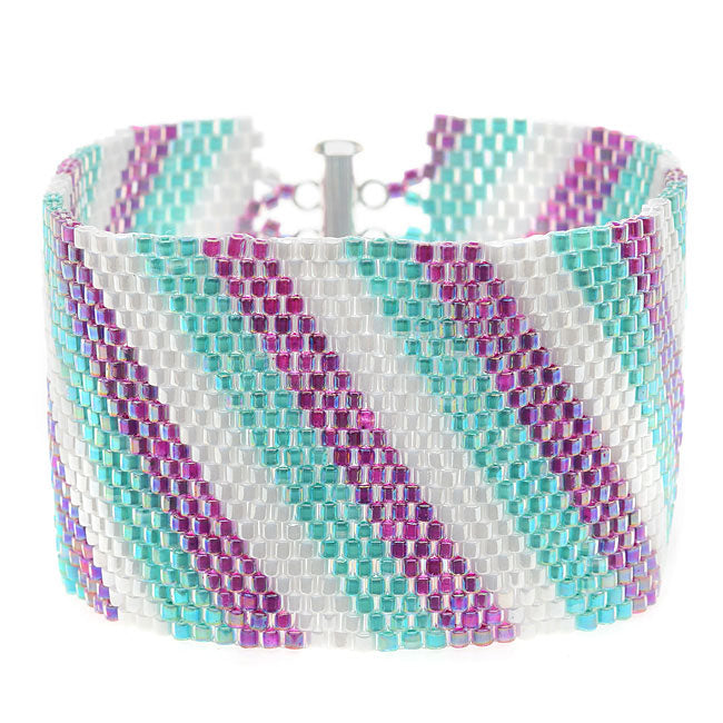 Diagonal Striped Peyote Bracelet (Prpl/Aq) - Exclusive Beadaholique Jewelry Kit