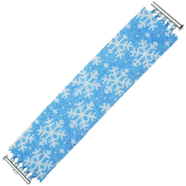 Peyote Bracelet Kit-Blue Sparkly Snowflakes - Exclusive Beadaholique Jewelry Kit
