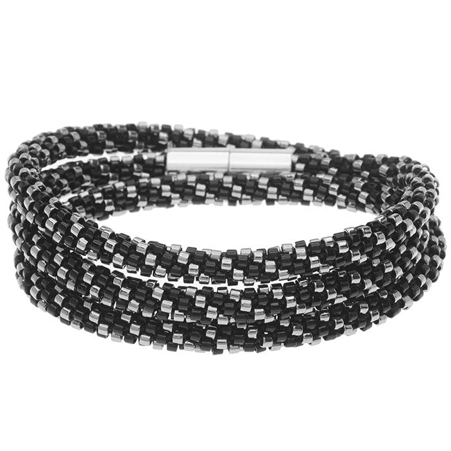 Beaded Kumihimo Wrap Bracelet Kit-Blk/Slv - Exclusive Beadaholique Jewelry Kit