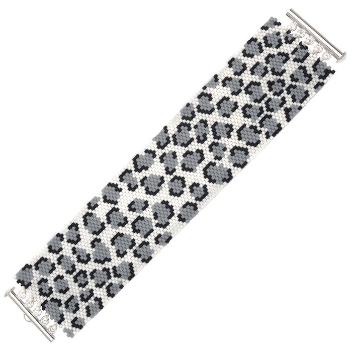 Snow Leopard Print Peyote Bracelet - Exclusive Beadaholique Jewelry Kit