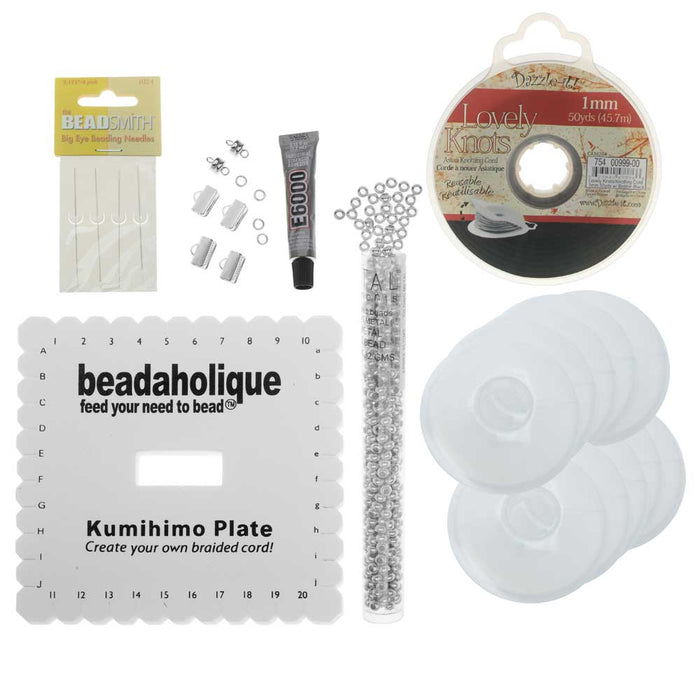 Beaded Flat Kumihimo Bracelet Set - Black/Silver - Exclusive Beadaholique Jewelry Kit