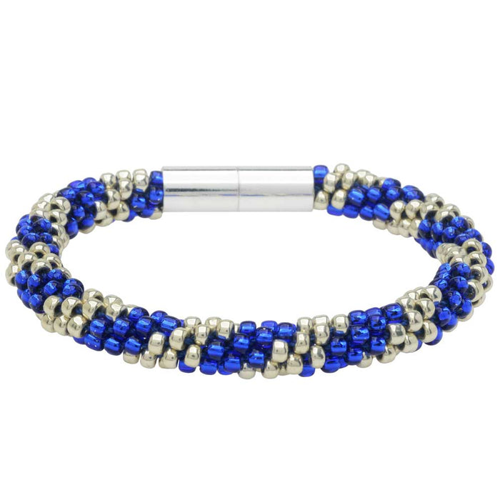 Splendid Spiral Kumihimo Bracelet in Blue and Silver - Exclusive Beadaholique Jewelry Kit