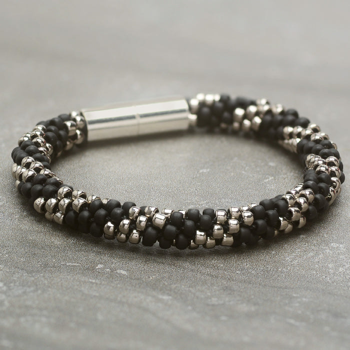 Splendid Spiral Kumihimo Bracelet in Black and Silver - Exclusive Beadaholique Jewelry Kit