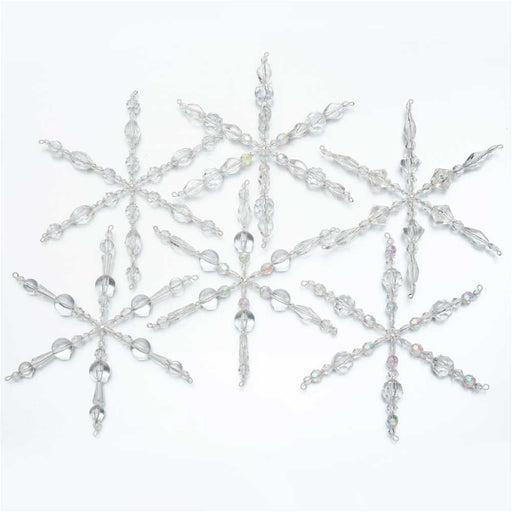Set of 6 Snowflake Christmas Ornaments - Exclusive Beadaholique Jewelry Kit