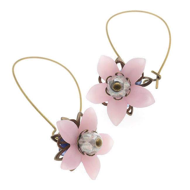 Floral Drop Lucite Earrings (Pink) - Exclusive Beadaholique Jewelry Kit