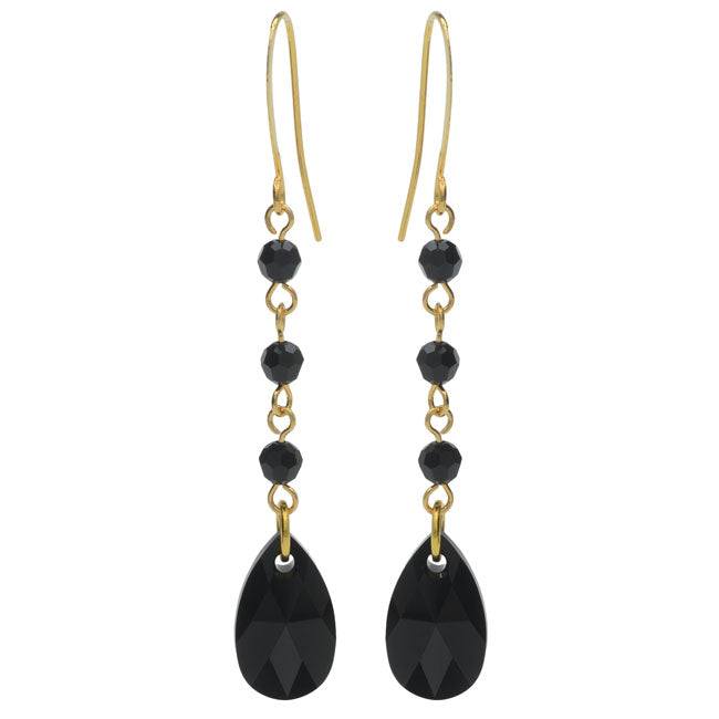 Drop Earrings featuring Swarovski Crystals - Jet - Exclusive Beadaholique Jewelry Kit